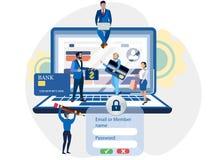 Registro en el sitio, acceso a la cuenta, gente Clave a las actividades bancarias de Internet En historieta minimalista del estil ilustración del vector