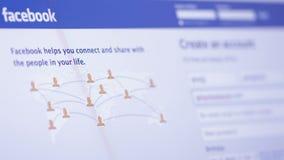 Registro en el sitio web Facebook almacen de metraje de vídeo