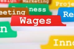Registro financiero del concepto del negocio de los salarios del empleado en documentos fotos de archivo libres de regalías