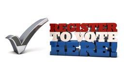 Registro para votar aquí - el registro de votantes Foto de archivo libre de regalías