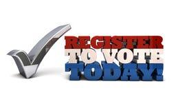 Registro para votar hoy - el registro de votantes Imagenes de archivo