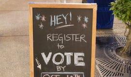 Registro per votare segno immagini stock libere da diritti