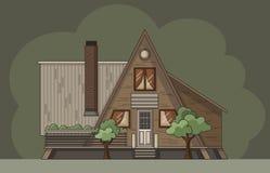 Registro plano de la cabina del bosque Ejemplo colorido del vector stock de ilustración