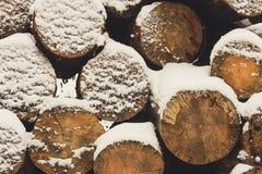 Registros bajo nieve Imágenes de archivo libres de regalías