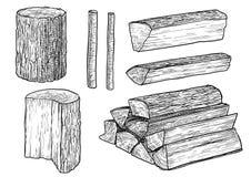 Registros cortados, madera del fuego, ejemplo de madera tajado, dibujo, grabado, tinta, línea arte, vector libre illustration