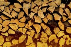 Registros de madera apilados en las filas, iluminadas por la luz del sol imagen de archivo libre de regalías