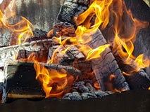 Registros de madera ardientes Fotos de archivo libres de regalías