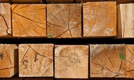 Registros de madera cuadrados Fotografía de archivo
