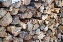 Registros de madera empilados Foto de archivo libre de regalías