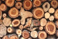 Registros de madera naturales fondo, visión superior Foto de archivo