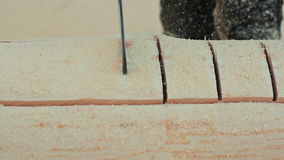Registros de trabajo del sawing de la motosierra del carpintero para las casas de madera Albañilería canadiense del ángulo Estilo almacen de video