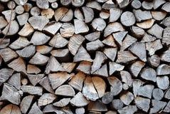 Registros e madeira empilhados Imagem de Stock