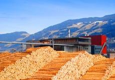 Registros en la fábrica de la madera de construcción Imágenes de archivo libres de regalías