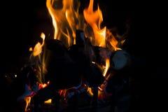 Registros y carbón en el fuego Imágenes de archivo libres de regalías
