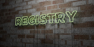 REGISTRY - Glowing Neon Sign on stonework wall - 3D rendered royalty free stock illustration Stock Images