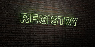 REGISTRY -Realistic Neon Sign on Brick Wall background - 3D rendered royalty free stock image. Can be used for online banner ads and direct mailers stock illustration