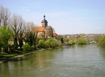 Regiswindiskirche, Lauffen am Neckar. The Regiswindis Church in Lauffen am Neckar, Deutschland, 2005. Lauffen is the birthplace of the poet Hölderlin Royalty Free Stock Image