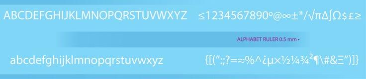 Regla con el alfabeto - rastro Imágenes de archivo libres de regalías