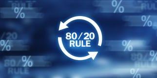 80/20 regla Concepto para el principio de Pareto Concepto del asunto ilustración del vector
