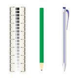Regla, lápiz y pluma del balanceo Imagen de archivo