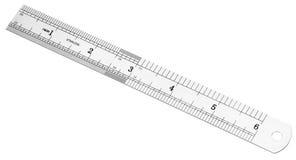 Regla métrica y de la pulgada del acero Foto de archivo libre de regalías