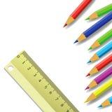 Regla y lápices Imagen de archivo libre de regalías