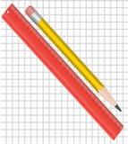 Regla y lápiz stock de ilustración