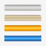 reglas coloridas, milímetros, centímetros y pulgadas, ilustración del vector