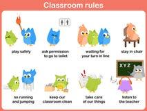 Reglas de la sala de clase para los niños stock de ilustración