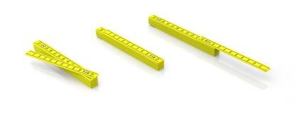 Reglas de madera del plegamiento amarillo aisladas en el fondo blanco, bandera ilustración 3D libre illustration