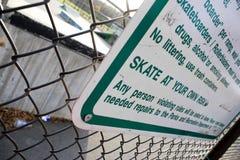 Reglas del parque del patín Fotos de archivo libres de regalías