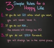 3 reglas simples en vida Imagen de archivo libre de regalías