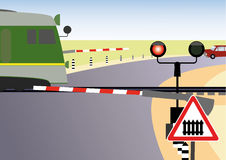 Reglerad järnväg korsning Fotografering för Bildbyråer