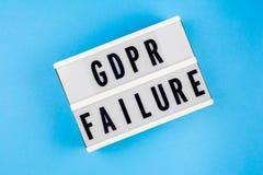 Reglering för skydd för allmänna data Fel för text GDPR Arkivbild