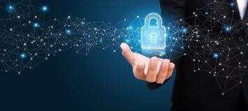 Reglering GDPR, GDPR för skydd för allmänna data i handen av b arkivbild