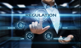 Regleringsöverensstämmelse härskar för affärsteknologi för lag standart begrepp Arkivfoton
