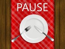 Reglerna av etikett i en restaurang paus inte färdig ännu på bakgrunden av ett r Arkivfoton