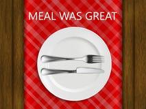 Reglerna av etikett i en restaurang wmeal var stort på bakgrunden av en röd kontroll Arkivfoton