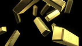 Regn av guld- stänger stock illustrationer