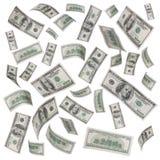 Regn av isolerade dollarräkningar Arkivbild