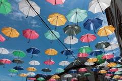 Regn av regnhattar Arkivbild