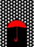 Regn av skallar Paraplyet skyddar från huvudet av skelettet Royaltyfria Foton