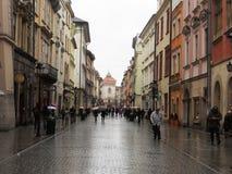 Regn i cracow Royaltyfri Foto