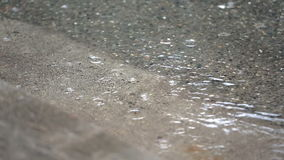 Regn i pöl, gatatrottoarkant arkivfilmer
