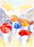Regn i stad Royaltyfria Foton