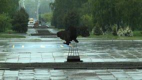 Regn i staden Kramatorsk lager videofilmer
