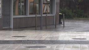 Regn med hagel på gatan arkivfilmer