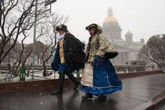 Regn med insnöade St Petersburg Royaltyfri Fotografi