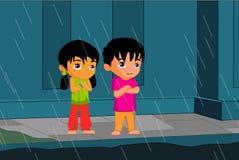 Regn och barn royaltyfri illustrationer