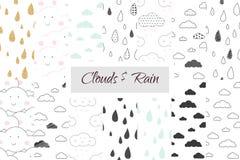 Regn och fördunklar den sömlösa modelluppsättningen för ungar Royaltyfria Bilder